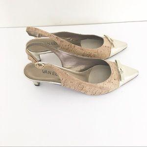 Van Eli pointy toe slingback cork low heels gold